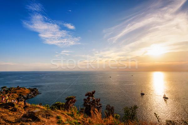 Renkli manzara güzel gün batımı ada deniz Stok fotoğraf © Yongkiet