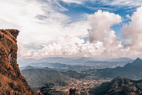 ヴィンテージ スタイル ピーク 山 色 2 ストックフォト © Yongkiet