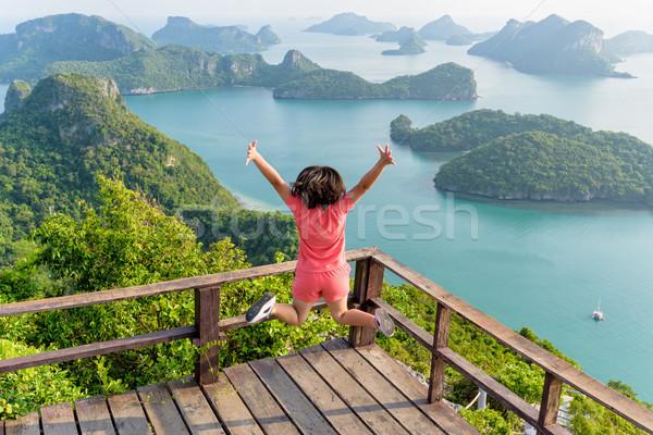 Nő ugrik hegy turista boldog csúcs Stock fotó © Yongkiet
