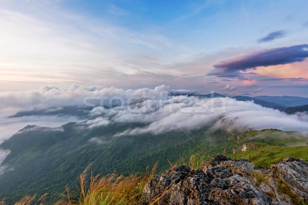 Natureza nascer do sol montanha Tailândia belo paisagem Foto stock © Yongkiet