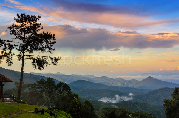 Peak for stunning views of mountains clouds and fog Stock photo © Yongkiet