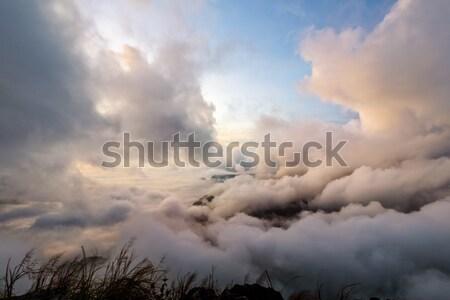 Hemel zonsopgang berg mooie natuur wolk Stockfoto © Yongkiet