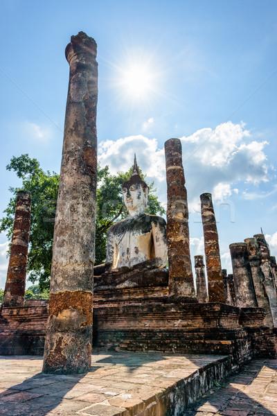 Будду статуя руин древних сидят ярко Сток-фото © Yongkiet