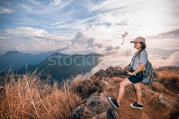 Hiker on color Sienna Blue two tone Stock photo © Yongkiet