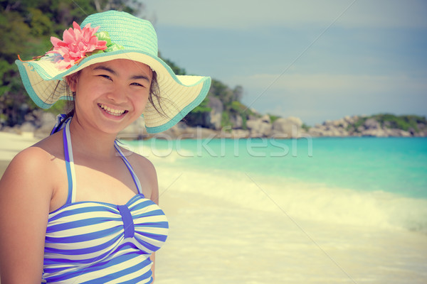 Vintage style girl on the beach at Thailand Stock photo © Yongkiet