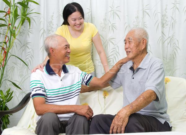Asian famille supérieurs père adulte fils Photo stock © yongtick