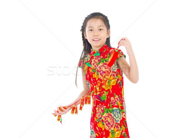 ázsiai gyerek kínai kínai új év piros női Stock fotó © yongtick
