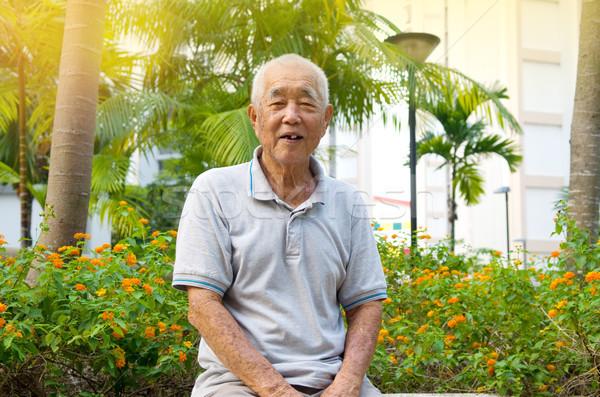 Asiático senior homem retrato sorridente família Foto stock © yongtick