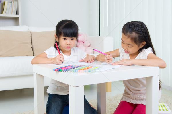 Asian kinderen kinderen tekening meisje school Stockfoto © yongtick