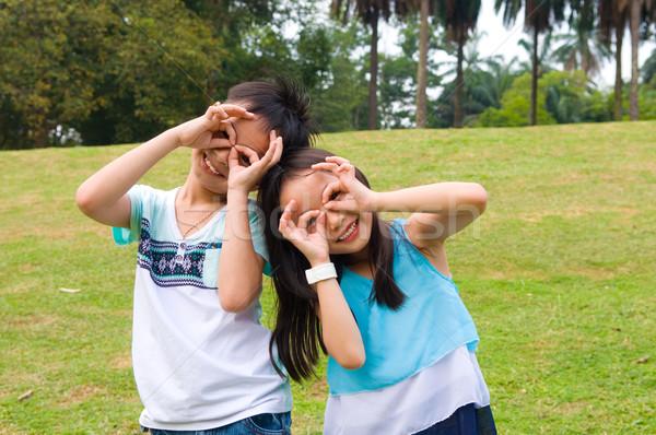 アジア 子供 屋外 幸せ 子供 ストックフォト © yongtick