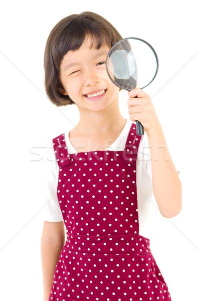 アジア 少女 中国語 カメラ 虫眼鏡 ストックフォト © yongtick