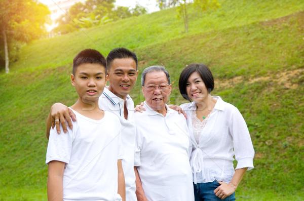 Chinese familie ontspannen park samen Stockfoto © yongtick