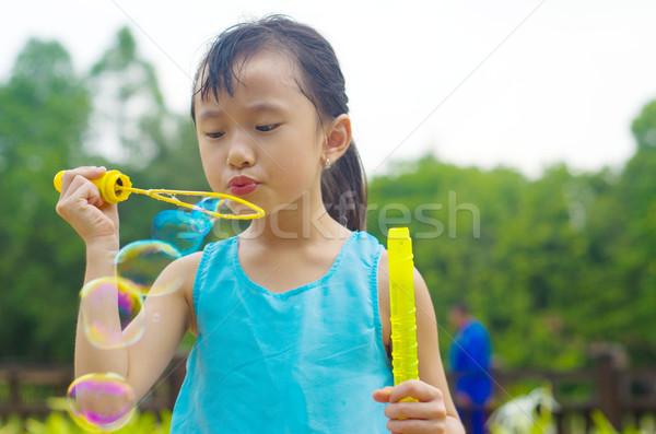 アジア 子供 少女 屋外 子 ストックフォト © yongtick