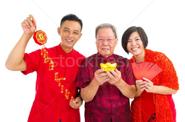 アジア シニア 男 子供 祝う 旧正月 ストックフォト © yongtick