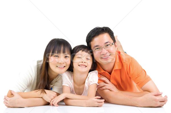 Asiático família retrato belo menina Foto stock © yongtick