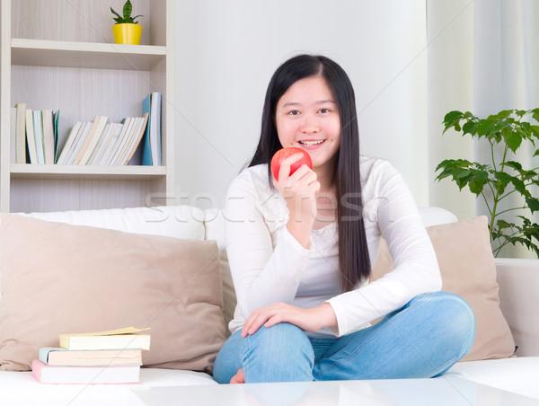 アジア 少女 幸せ 食べ 緑 リンゴ ストックフォト © yongtick