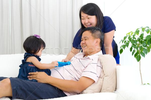 アジア 家族 ホーム 家 幸せ ストックフォト © yongtick