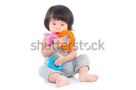 Asiático bebê bonitinho menina sessão piso Foto stock © yongtick