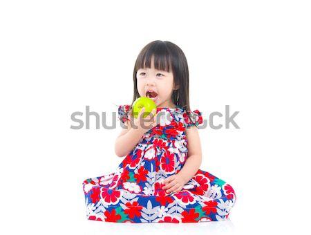 Asiático menina bonitinho sessão piso Foto stock © yongtick