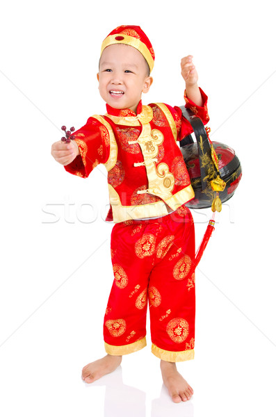 アジア 少年 中国語 伝統的な 孤立した ストックフォト © yongtick