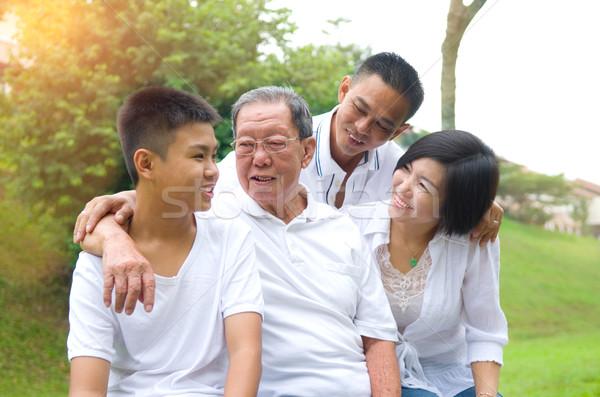 Сток-фото: азиатских · Семейный · портрет · китайский · семьи · расслабляющая · парка