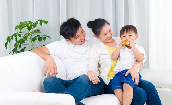 アジア 家族 肖像 男 子供 ストックフォト © yongtick