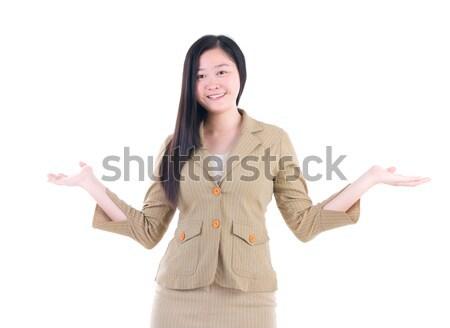 アジア 女性実業家 肖像 オープン 腕 孤立した ストックフォト © yongtick