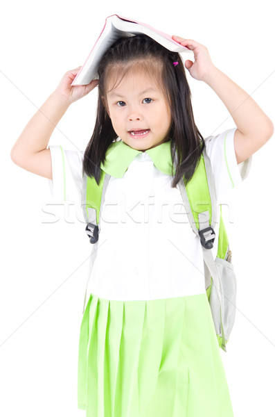 Asian schoolmeisje gelukkig weinig schoolmeisje boeken Stockfoto © yongtick