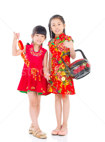 アジア 子供 中国語 女の子 旧正月 赤 ストックフォト © yongtick