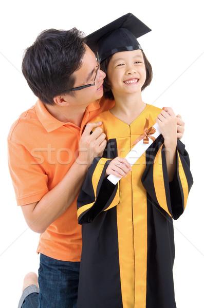 卒業 子供 アジア 娘 写真 父 ストックフォト © yongtick