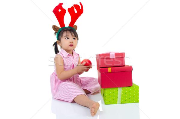 アジア 少女 リンゴ クリスマス ストックフォト © yongtick