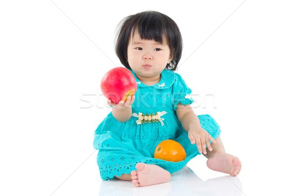 アジア 食べ リンゴ オレンジ 家族 ストックフォト © yongtick