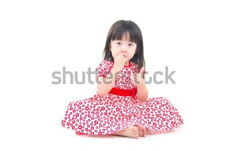 Asian meisje mooie vergadering vloer mode Stockfoto © yongtick