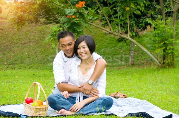 Asian Coppia amorevole outdoor parco ragazza Foto d'archivio © yongtick