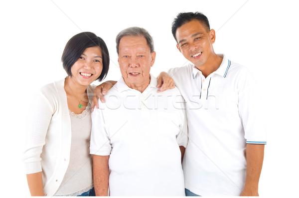 Asian familie senior man dochter zoon Stockfoto © yongtick