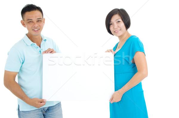 Asian midden paar papier Stockfoto © yongtick