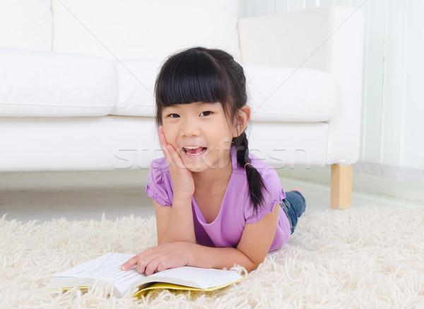 子 教育 アジア 少女 階 読む ストックフォト © yongtick