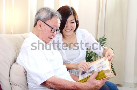 Сток-фото: азиатских · Семейный · портрет · китайский · семьи · чтение · газета
