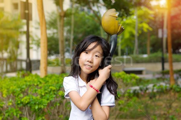 Asian meisje outdoor portret weinig natuur Stockfoto © yongtick