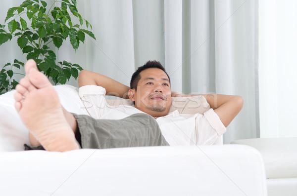 Asiático homem cara casa Foto stock © yongtick