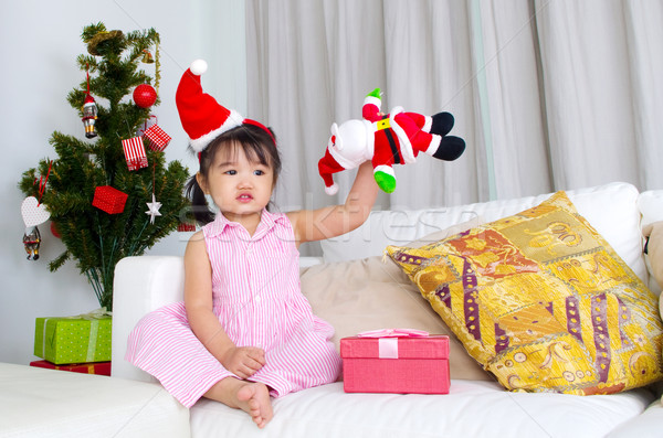 Asian kid portret gelukkig christmas Stockfoto © yongtick