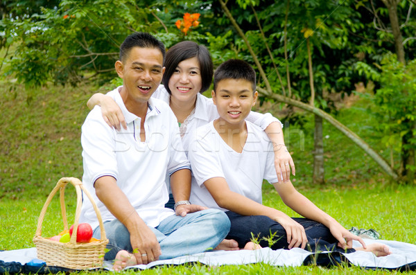Asian cinese famiglia rilassante outdoor parco Foto d'archivio © yongtick