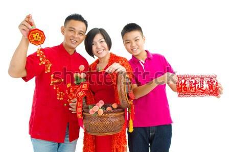 Ano novo chinês asiático homem fundo vermelho Foto stock © yongtick
