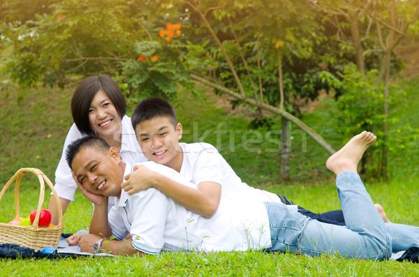 アジア 家族 中国語 リラックス 屋外 公園 ストックフォト © yongtick