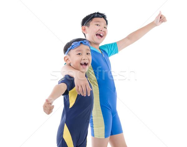 Asian jongens jonge zwempak zwemmen stofbril Stockfoto © yongtick