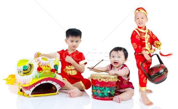 Felice capodanno cinese asian cinese ragazzi tradizionale Foto d'archivio © yongtick