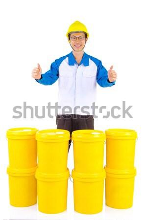 Industriële smeermiddel olieverf pak veiligheidshelm tonen Stockfoto © yongtick