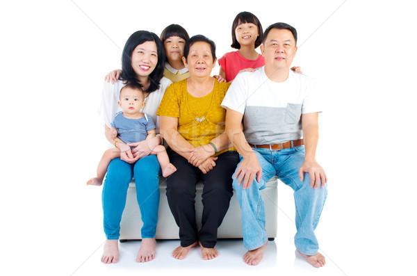 Asiático família belo gerações crianças feliz Foto stock © yongtick