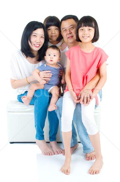 Asiático família retrato menina feliz Foto stock © yongtick