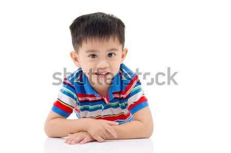 Asiático menino isolado branco sorrir fundo Foto stock © yongtick